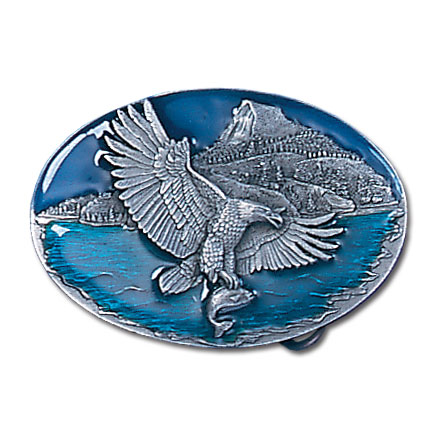 Belt Buckle - Eagle Catching Fish - This finely sculpted and enameled belt buckle contains exceptional 3D detailing. Siskiyou's unique buckle designs often become collector's items.