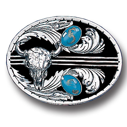 Turquoise Stones with Buffalo Skull (Diamond Cut) - This finely sculpted and enameled belt buckle contains exceptional 3D detailing. Siskiyou's unique buckle designs often become collector's items.