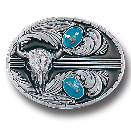 Belt Buckle - Stones with Buffalo Skull - This finely sculpted and enameled belt buckle contains exceptional 3D detailing. Siskiyou's unique buckle designs often become collector's items.