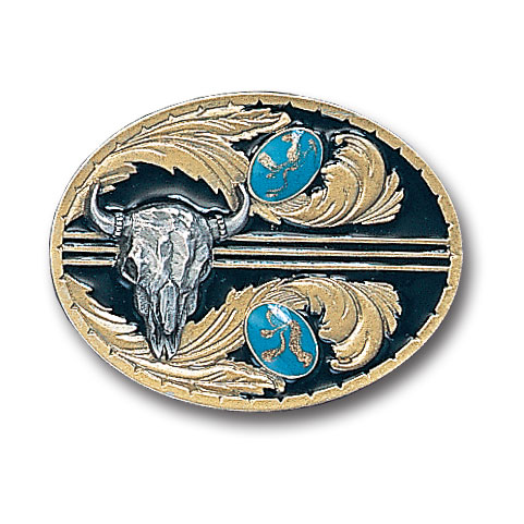 Belt Buckle -  Stones with Buffalo Skull (Gold Vivatone) - This finely sculpted belt buckle contains exceptional 3D detailing and is finished with gold vivatone. Siskiyou's unique buckle designs often become collector's items and are unequaled with the best craftsmanship.