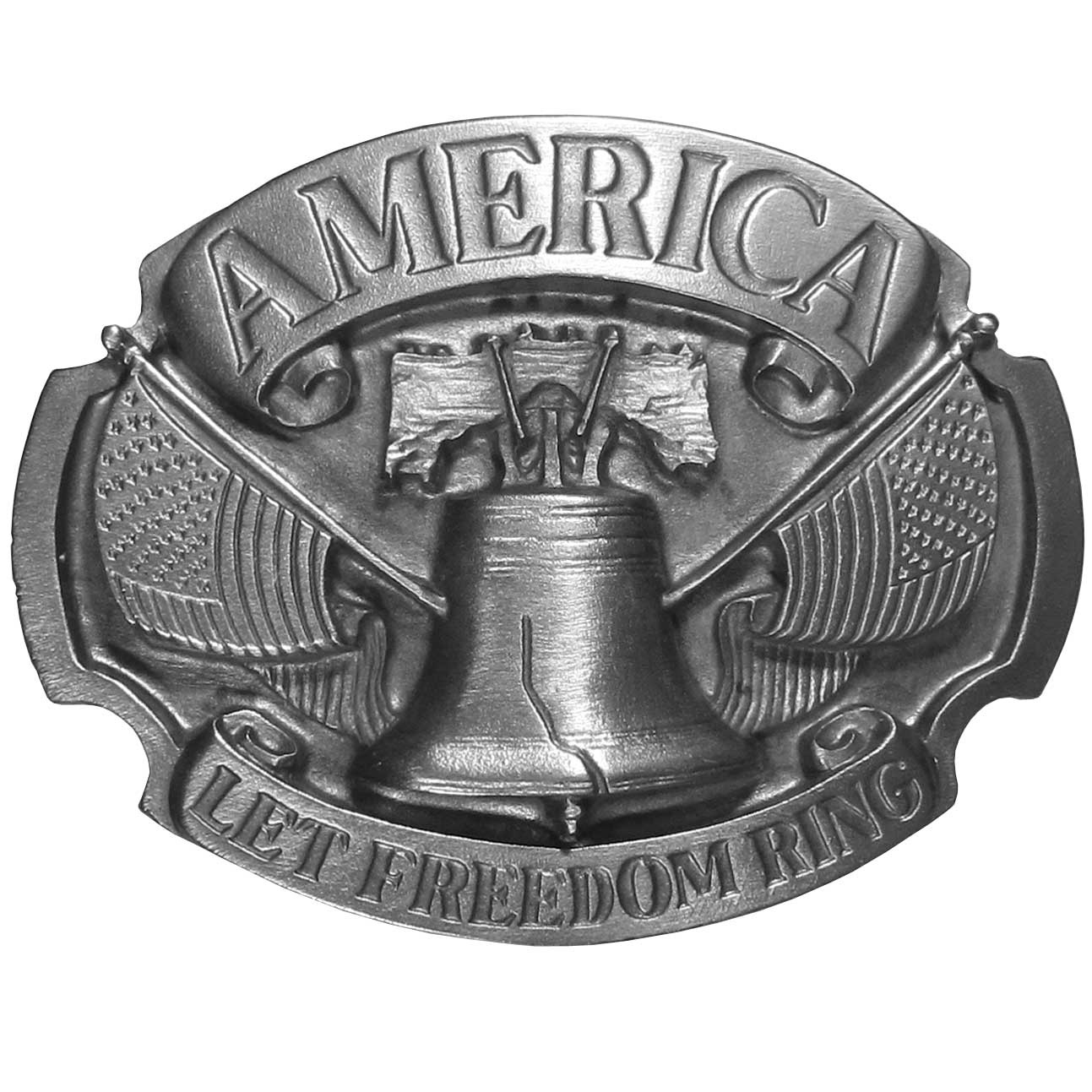 "Let Freedom Ring Antiqued Belt Buckle - ""Show off your patriotism.  This beautiful buckle has """"America"""" in a banner on top and """"Let Freedom Ring"""" on the bottom.  The Liberty Bell is in the middle with a United States flag on each side.  This exquistely carved buckle is made of fully cast metal with a standard bale that fits up to 2"""" belts.  Siskiyou's unique buckle designs often become collector's items and are unequaled in crafstmanship.  Made in the USA."""