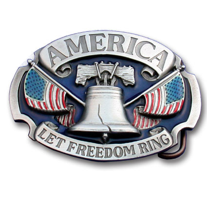 Belt Buckle - America Let Freedom Ring - This finely sculpted and enameled belt buckle contains exceptional 3D detailing. Siskiyou's unique buckle designs often become collector's items.