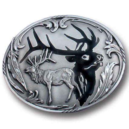 Belt Buckle - Elk Silhouette - This finely sculpted and enameled belt buckle contains exceptional 3D detailing. Siskiyou's unique buckle designs often become collector's items.