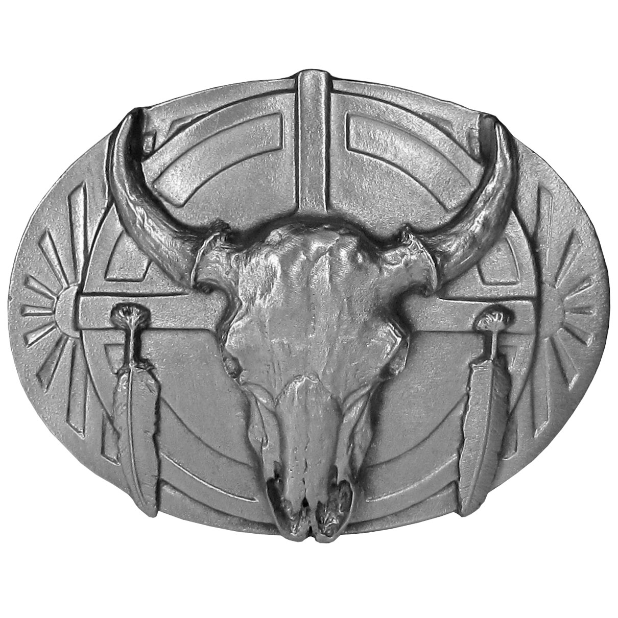 "Buffalo Skull and Feathers Antiqued Belt Buckle - ""This belt buckle features a buffalo skull with two feathers on the sides and Southwestern detail.  This exquisitely carved buckle is made of fully cast metal with a standard bale that fits up to 2"""" belts."""
