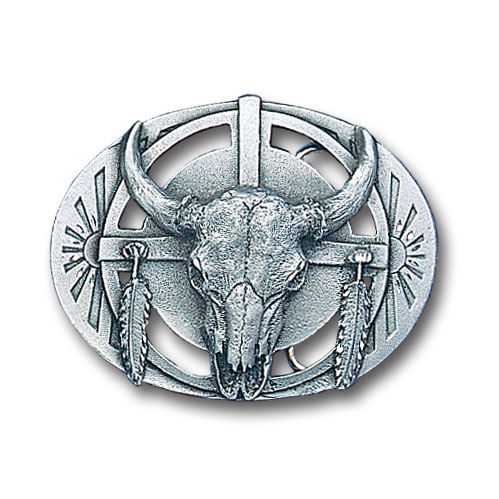 Belt Buckle -  Buffalo Skull/Feathers - This finely sculpted and diamond cut and cutout  belt buckle contains exceptional 3D detailing. Siskiyou's unique buckle designs often become collector's items and are unequaled with the best craftsmanship.