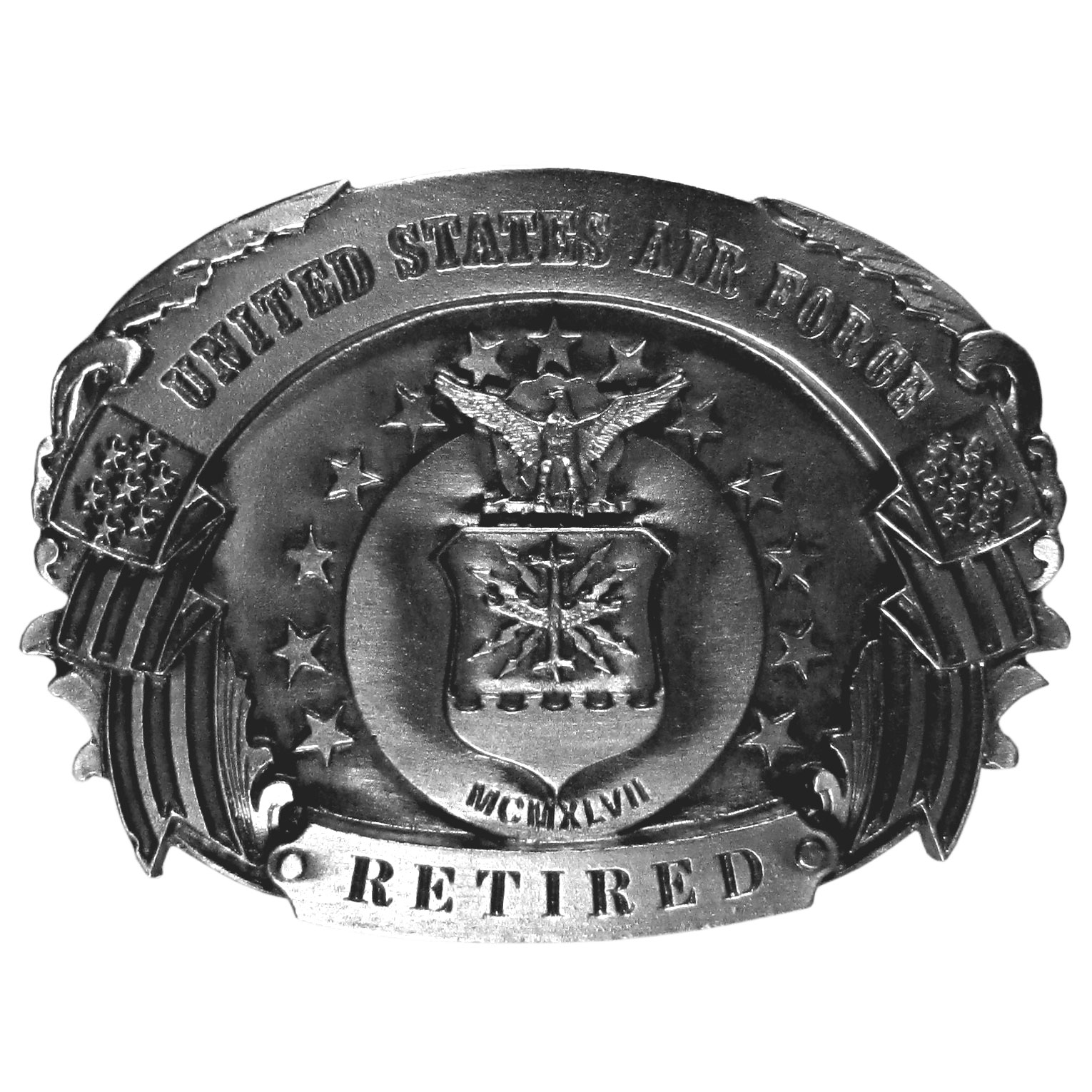 "Air Force Retired Antiqued Belt Buckle - ""This belt buckle says, """"United States Air Force, Retired"""" in bold with the US Air Force seal and an American flag banner.  On the back are the words, """"To all those who have served their country.  America says Thanks!"""""""