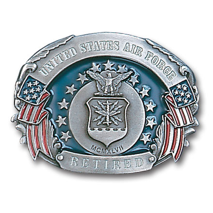Military Belt Buckle - US Air Force Retired  - This finely sculpted and enameled belt buckle contains exceptional 3D detailing. Siskiyou's unique buckle designs often become collector's items.