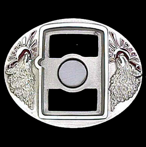 Belt Buckle - Wolf (Zippo Lighter) - This finely sculpted and enameled belt buckle contains exceptional 3D detailing. Siskiyou's unique buckle designs often become collector's items.