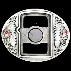 Belt Buckle - Two Chiefs (Zippo Lighter) - This finely sculpted and enameled belt buckle contains exceptional 3D detailing. Siskiyou's unique buckle designs often become collector's items.