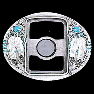 Belt Buckle - Indian Feathers (Zippo Lighter) - This finely sculpted and enameled belt buckle contains exceptional 3D detailing. Siskiyou's unique buckle designs often become collector's items.