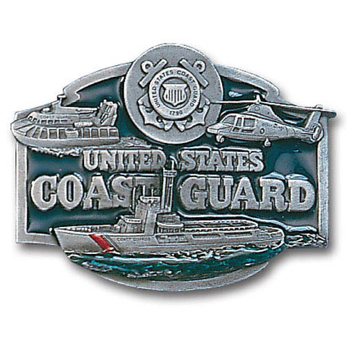 Military Belt Buckle -  US Coast Guard - This finely sculpted and enameled belt buckle contains exceptional 3D detailing. Siskiyou's unique buckle designs often become collector's items.