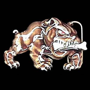 Belt Buckle - Bulldog with Bone  - This finely sculpted and enameled belt buckle contains exceptional 3D detailing. Siskiyou's unique buckle designs often become collector's items.