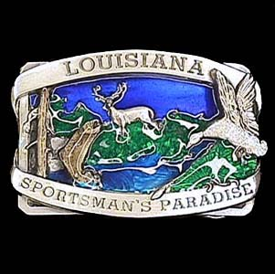 Belt Buckle - Louisiana Sportsman's - This finely sculpted and enameled belt buckle contains exceptional 3D detailing. Siskiyou's unique buckle designs often become collector's items.