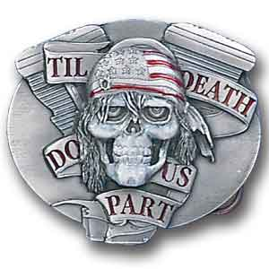 Belt Buckle - Till Death Do Us Part - This finely sculpted and enameled belt buckle contains exceptional 3D detailing. Siskiyou's unique buckle designs often become collector's items.