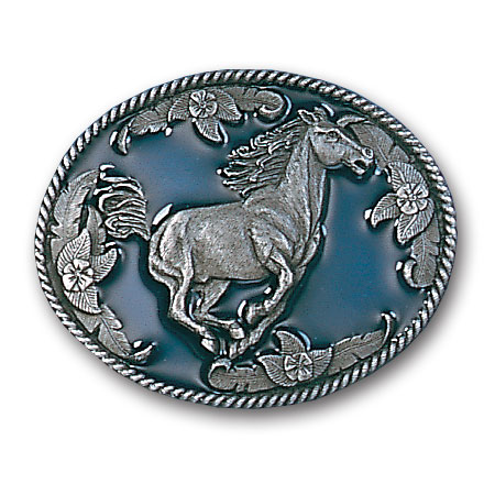 Belt Buckle - Galloping Horse - This finely sculpted and enameled belt buckle contains exceptional 3D detailing. Siskiyou's unique buckle designs often become collector's items.