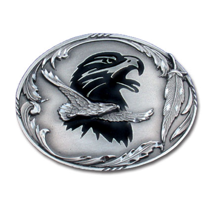Belt Buckle - Double Eagle - This finely sculpted belt buckle contains exceptional 3D detailing and diamond cut accents. Siskiyou's unique buckle designs often become collector's items and are unequaled with the best craftsmanship.