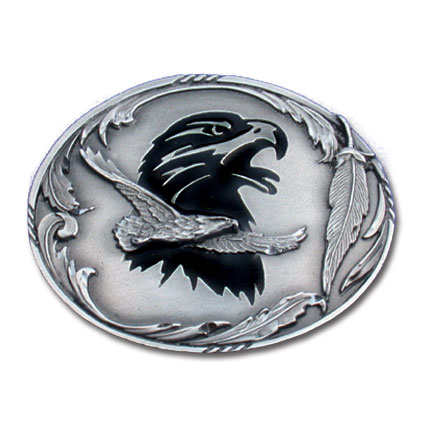Belt Buckle - Eagle - This finely sculpted and enameled belt buckle contains exceptional 3D detailing. Siskiyou's unique buckle designs often become collector's items.