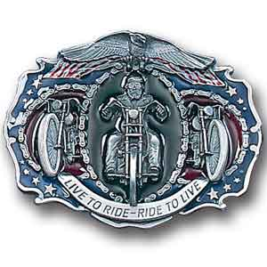 Belt Buckle - Live to Ride  - This finely sculpted and enameled belt buckle contains exceptional 3D detailing. Siskiyou's unique buckle designs often become collector's items.