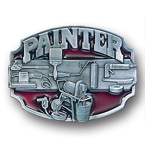 Belt Buckle - Painter 3D - This finely sculpted and enameled belt buckle contains exceptional 3D detailing. Siskiyou's unique buckle designs often become collector's items.