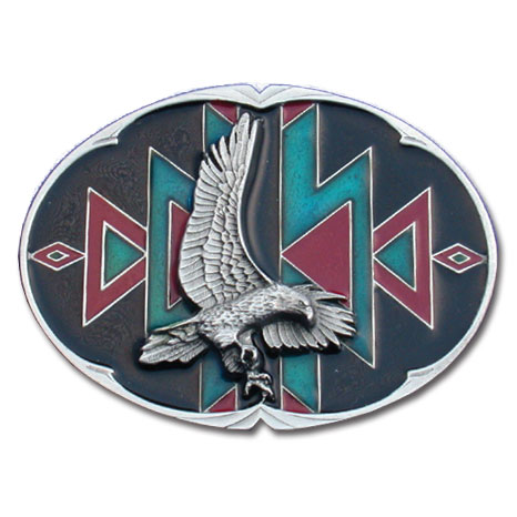Belt Buckle - Eagle Belt Buckle - This finely sculpted and enameled belt buckle contains exceptional 3D detailing. Siskiyou's unique buckle designs often become collector's items.