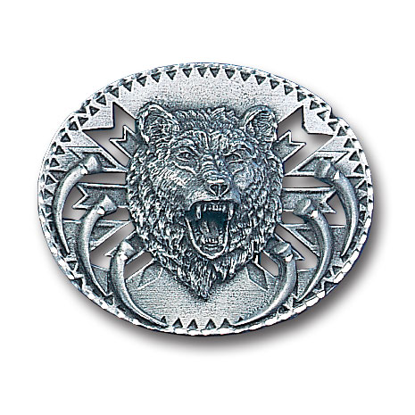Belt Buckle - Grizzly Head   - This finely sculpted and diamond cut and cutout  belt buckle contains exceptional 3D detailing. Siskiyou's unique buckle designs often become collector's items and are unequaled with the best craftsmanship.