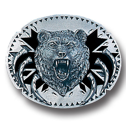 Belt Buckle - Grizzly Head with Claws  - This finely sculpted belt buckle contains exceptional 3D detailing and diamond cut accents. Siskiyou's unique buckle designs often become collector's items and are unequaled with the best craftsmanship.