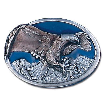 Belt Buckle - Eagle in Oval - This finely sculpted and enameled belt buckle contains exceptional 3D detailing. Siskiyou's unique buckle designs often become collector's items.