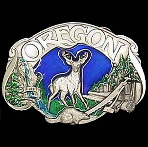 Belt Buckle - Oregon Elk - This finely sculpted and enameled belt buckle contains exceptional 3D detailing. Siskiyou's unique buckle designs often become collector's items.