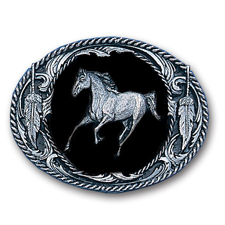Belt Buckle - Running Horse  (Diamond Cut) - This finely sculpted belt buckle contains exceptional 3D detailing and diamond cut accents. Siskiyou's unique buckle designs often become collector's items and are unequaled with the best craftsmanship.