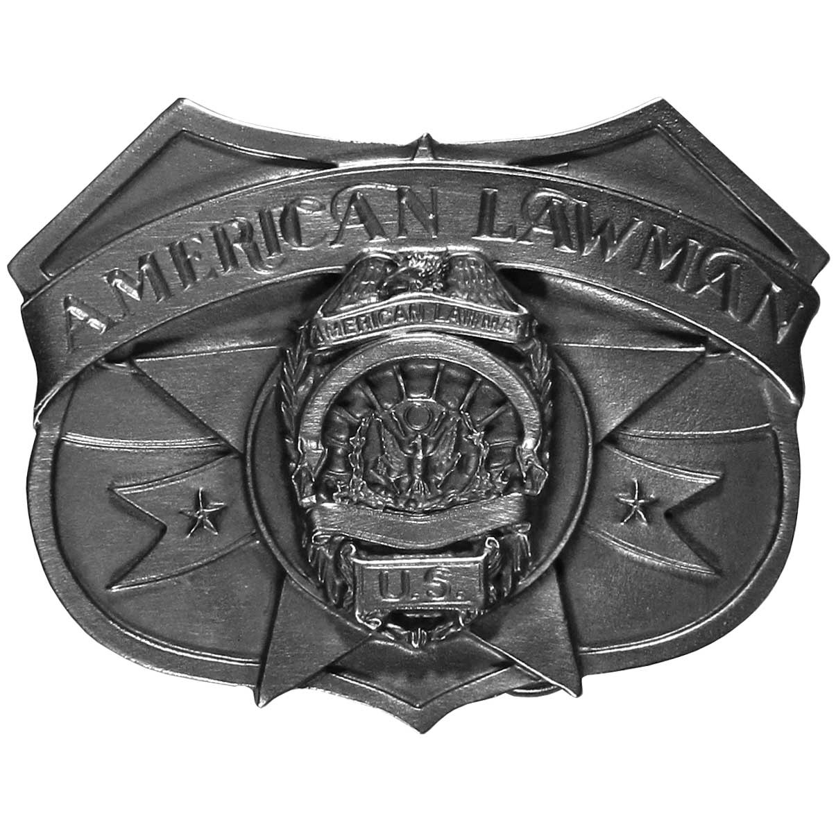 "American Lawman Antiqued Belt Buckle - ""The buckle features an American Lawman theme with the American Lawman symbol.  This exquisitely carved buckle is made of fully cast metal with a standard bale that fits up to 2"""" belts."""