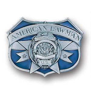 Belt Buckle - American Lawman  - This finely sculpted and enameled belt buckle contains exceptional 3D detailing. Siskiyou's unique buckle designs often become collector's items.