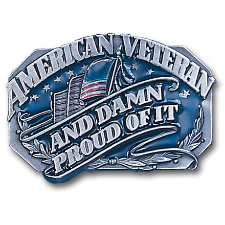 Belt Buckle - American Veteran  - This finely sculpted and enameled belt buckle contains exceptional 3D detailing. Siskiyou's unique buckle designs often become collector's items.