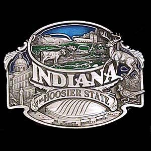 Belt Buckle - Indiana-Hoosier State - This finely sculpted and enameled belt buckle contains exceptional 3D detailing. Siskiyou's unique buckle designs often become collector's items.