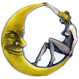 Belt Buckle - Girl on the Moon  - This finely sculpted and enameled belt buckle contains exceptional 3D detailing. Siskiyou's unique buckle designs often become collector's items.