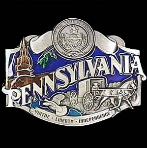 Belt Buckle - Pennsylvania - This finely sculpted and enameled belt buckle contains exceptional 3D detailing. Siskiyou's unique buckle designs often become collector's items.