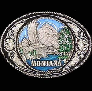 Belt Buckle - Montana with Western Scroll - This finely sculpted and enameled belt buckle contains exceptional 3D detailing. Siskiyou's unique buckle designs often become collector's items.