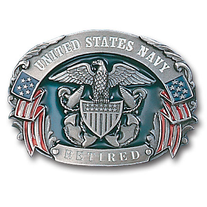 Military Belt Buckle -  US Navy Retired  - This finely sculpted and enameled belt buckle contains exceptional 3D detailing. Siskiyou's unique buckle designs often become collector's items.