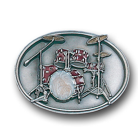 Belt Buckle - Drum Set - This finely sculpted and enameled belt buckle contains exceptional 3D detailing. Siskiyou's unique buckle designs often become collector's items.