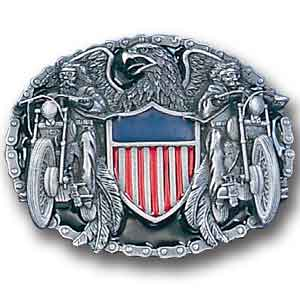 Belt Buckle - Two Bikers with American Shield  - This finely sculpted and enameled belt buckle contains exceptional 3D detailing. Siskiyou's unique buckle designs often become collector's items.