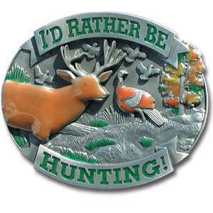 Rather Be Hunting Hitch Cover - Love to Hunt? Our finely crafted three-dimensional trailer hitch covers are hand enameled and are a great way to customize your vehicle.