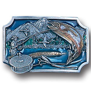 Belt Buckle - Fly Fishing - This finely sculpted and hand enameled belt buckle contains exceptional 3D detailing. Siskiyou's unique buckle designs often become collector's items and are unequaled with the best craftsmanship.