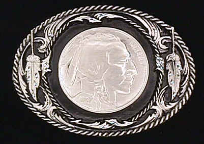 Belt Buckle - Indian Head Nickel  - This finely sculpted belt buckle contains exceptional 3D detailing and diamond cut accents. Siskiyou's unique buckle designs often become collector's items and are unequaled with the best craftsmanship.