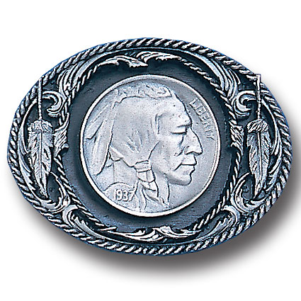 Belt Buckle - Indian Head Nickel  - This finely sculpted and hand enameled belt buckle contains exceptional 3D detailing. Siskiyou's unique buckle designs often become collector's items and are unequaled with the best craftsmanship.