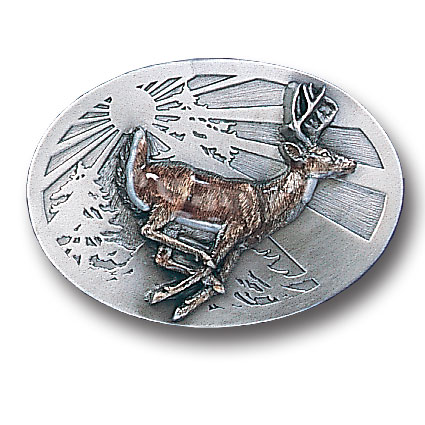 Belt Buckle -Whitetail Deer - This finely sculpted and hand enameled belt buckle contains exceptional 3D detailing. Siskiyou's unique buckle designs often become collector's items and are unequaled with the best craftsmanship.