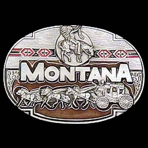 Belt Buckle - Montana Stagecoach - This finely sculpted and hand enameled belt buckle contains exceptional 3D detailing. Siskiyou's unique buckle designs often become collector's items and are unequaled with the best craftsmanship.