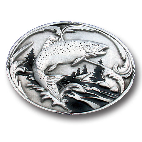 Belt Buckle - Fish and Stream - This finely sculpted belt buckle contains exceptional 3D detailing and diamond cut accents. Siskiyou's unique buckle designs often become collector's items and are unequaled with the best craftsmanship.
