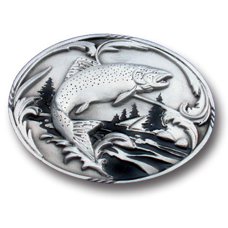 Belt Buckle - Fish and Stream - This finely sculpted and hand enameled belt buckle contains exceptional 3D detailing. Siskiyou's unique buckle designs often become collector's items and are unequaled with the best craftsmanship.