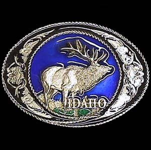 Belt Buckle - Idaho with Elk - This finely sculpted and hand enameled belt buckle contains exceptional 3D detailing. Siskiyou's unique buckle designs often become collector's items and are unequaled with the best craftsmanship.