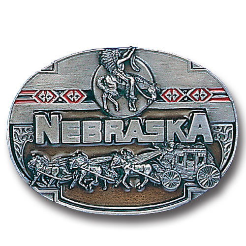 Belt Buckle - Nebraska  - This finely sculpted and hand enameled belt buckle contains exceptional 3D detailing. Siskiyou's unique buckle designs often become collector's items and are unequaled with the best craftsmanship.