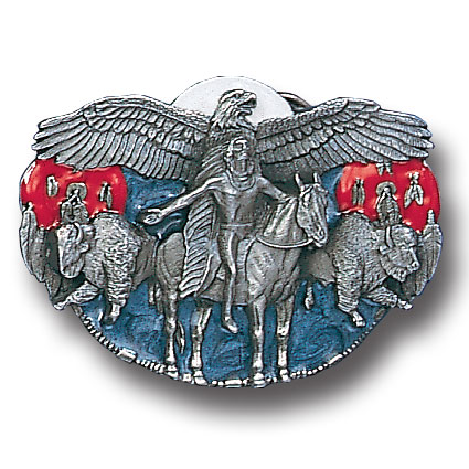 Belt Buckle - Eagle Spirit  - This finely sculpted and hand enameled belt buckle contains exceptional 3D detailing. Siskiyou's unique buckle designs often become collector's items and are unequaled with the best craftsmanship.